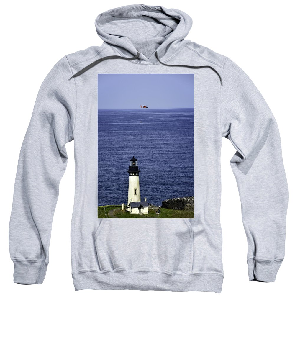Newport Sweatshirt featuring the photograph Viewing The Newport Lighthouse by Image Takers Photography LLC - Carol Haddon