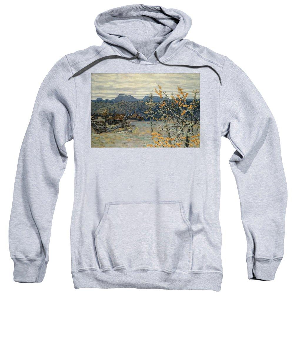 Village Sweatshirt featuring the painting Village In The Ural Mountains by Apollinari Mikhailovich Vasnetsov