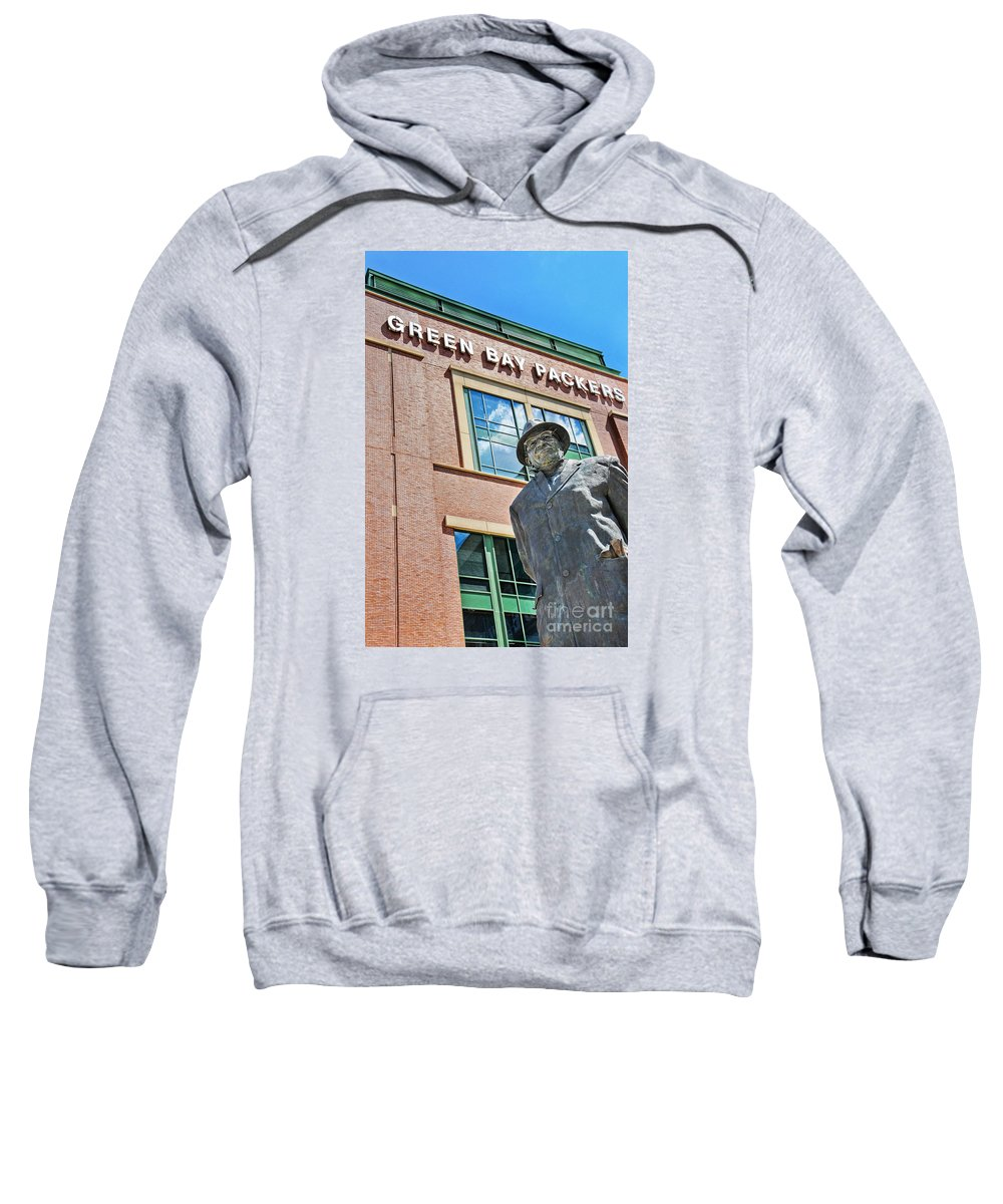 Green Bay Packers Sweatshirt featuring the photograph Vince Lombardi Statue Lambeau Field by David Perry Lawrence
