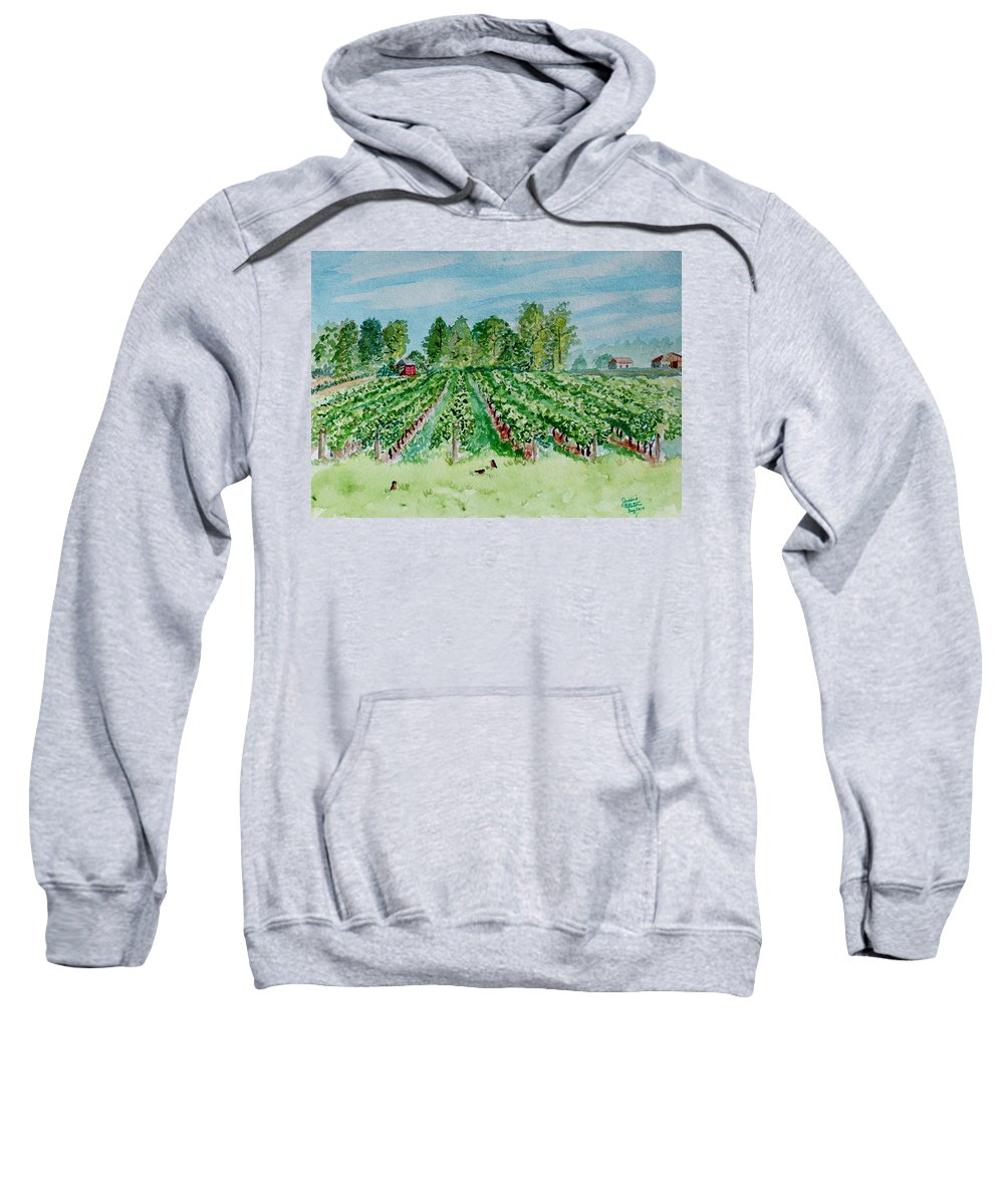 Vineyard Sweatshirt featuring the painting Vineyard Of Ontario Canada 1 by Jeannie Allerton