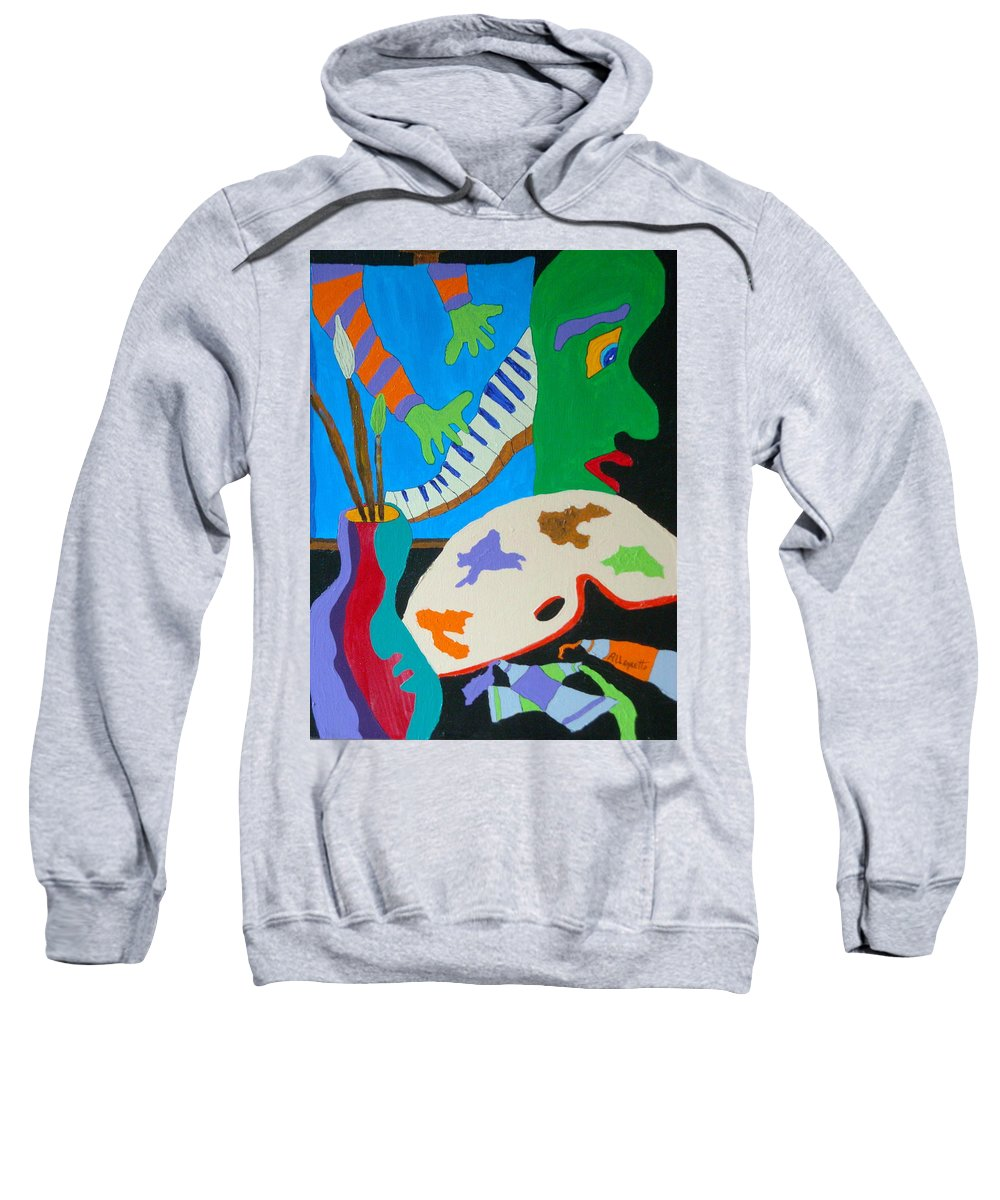 Allegretto Art Sweatshirt featuring the painting Vinny And The Van Goes Two by Pamela Allegretto