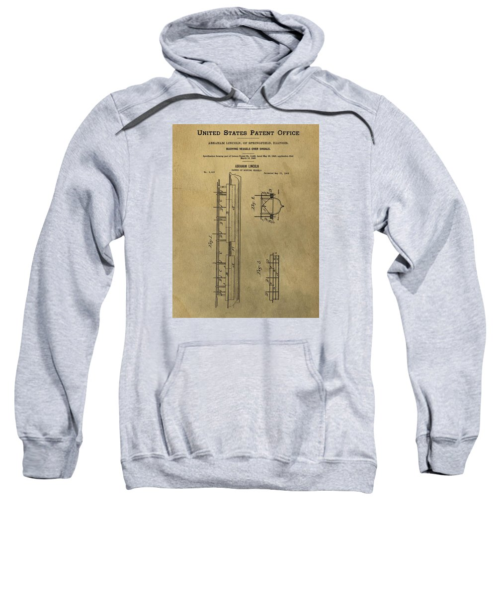 Vintage Abraham Lincoln Patent Sweatshirt featuring the mixed media Vintage Abraham Lincoln Patent by Dan Sproul