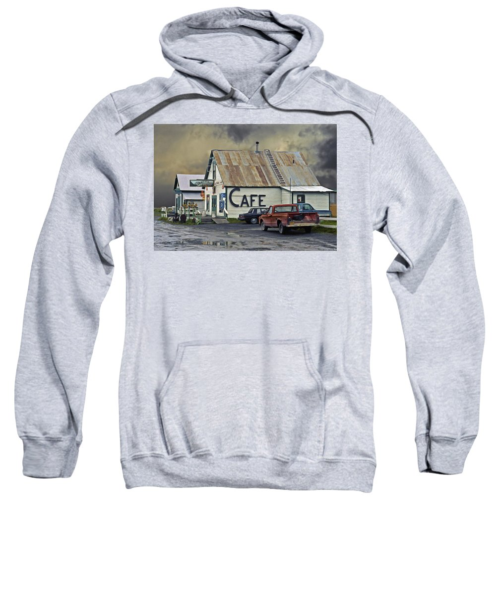 Alaska Sweatshirt featuring the photograph Vintage Alaska Cafe by Ron Day