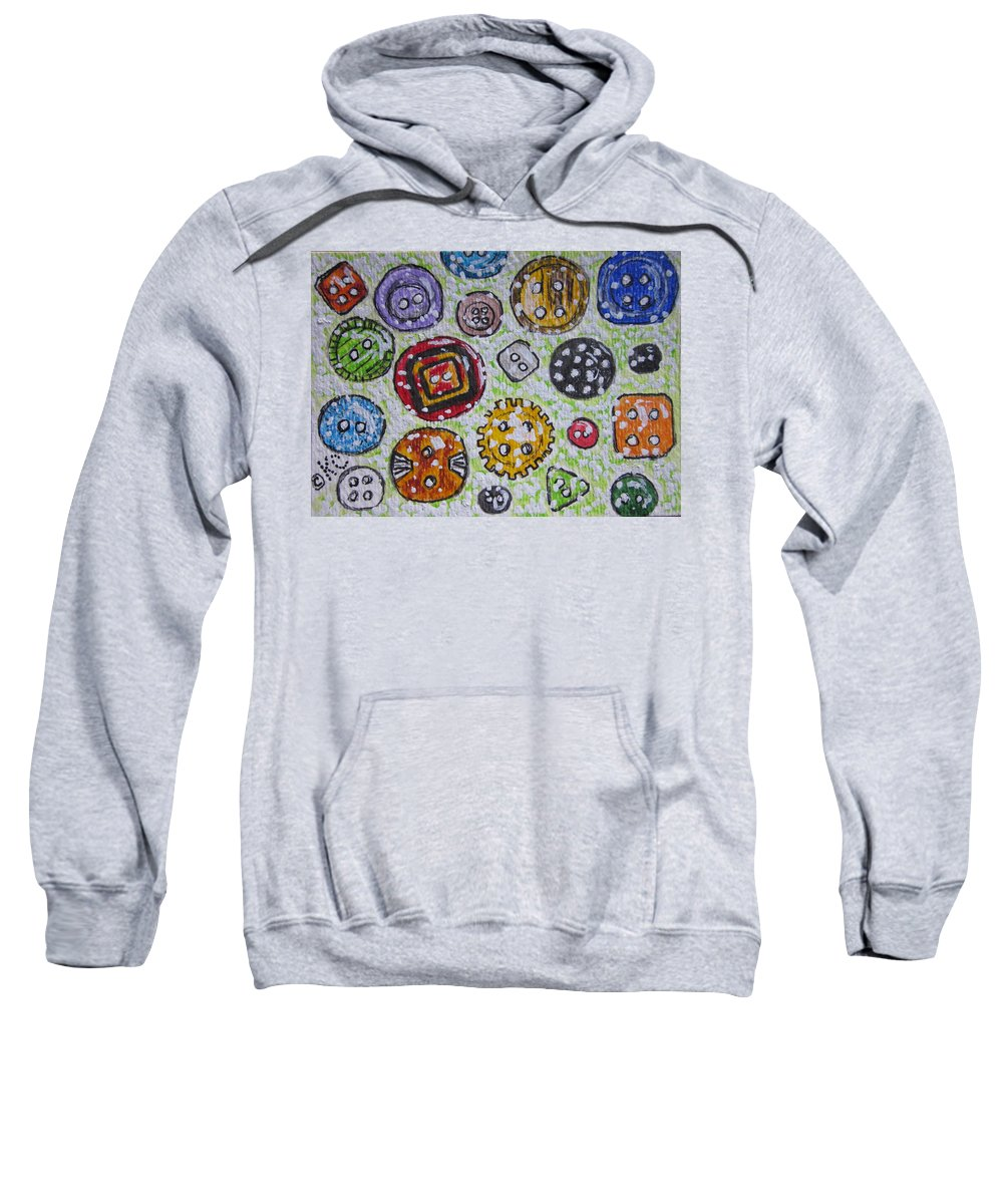 Vintage Sweatshirt featuring the painting Vintage Antique Buttons by Kathy Marrs Chandler