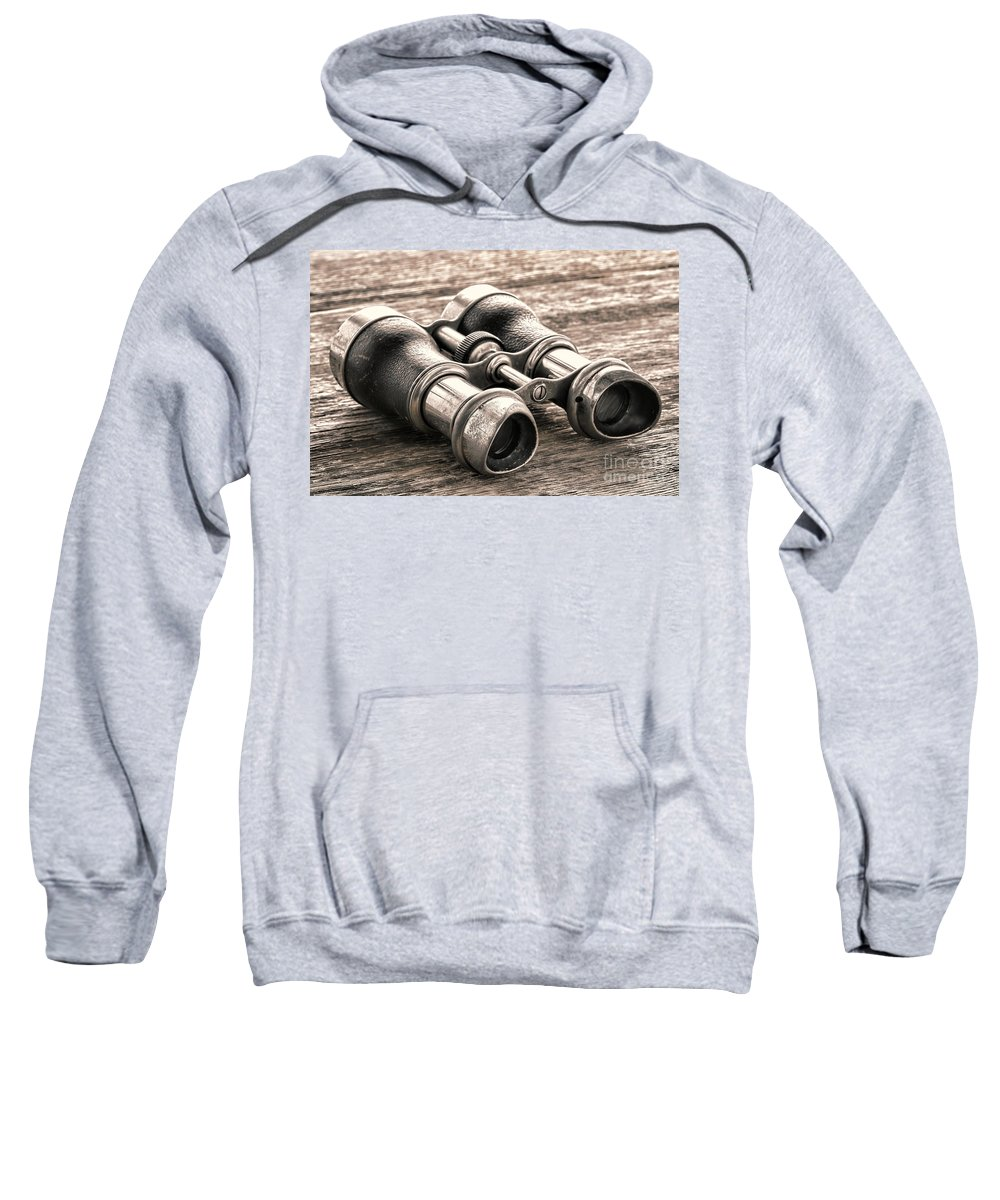 Binocular Sweatshirt featuring the photograph Vintage Binoculars by Olivier Le Queinec