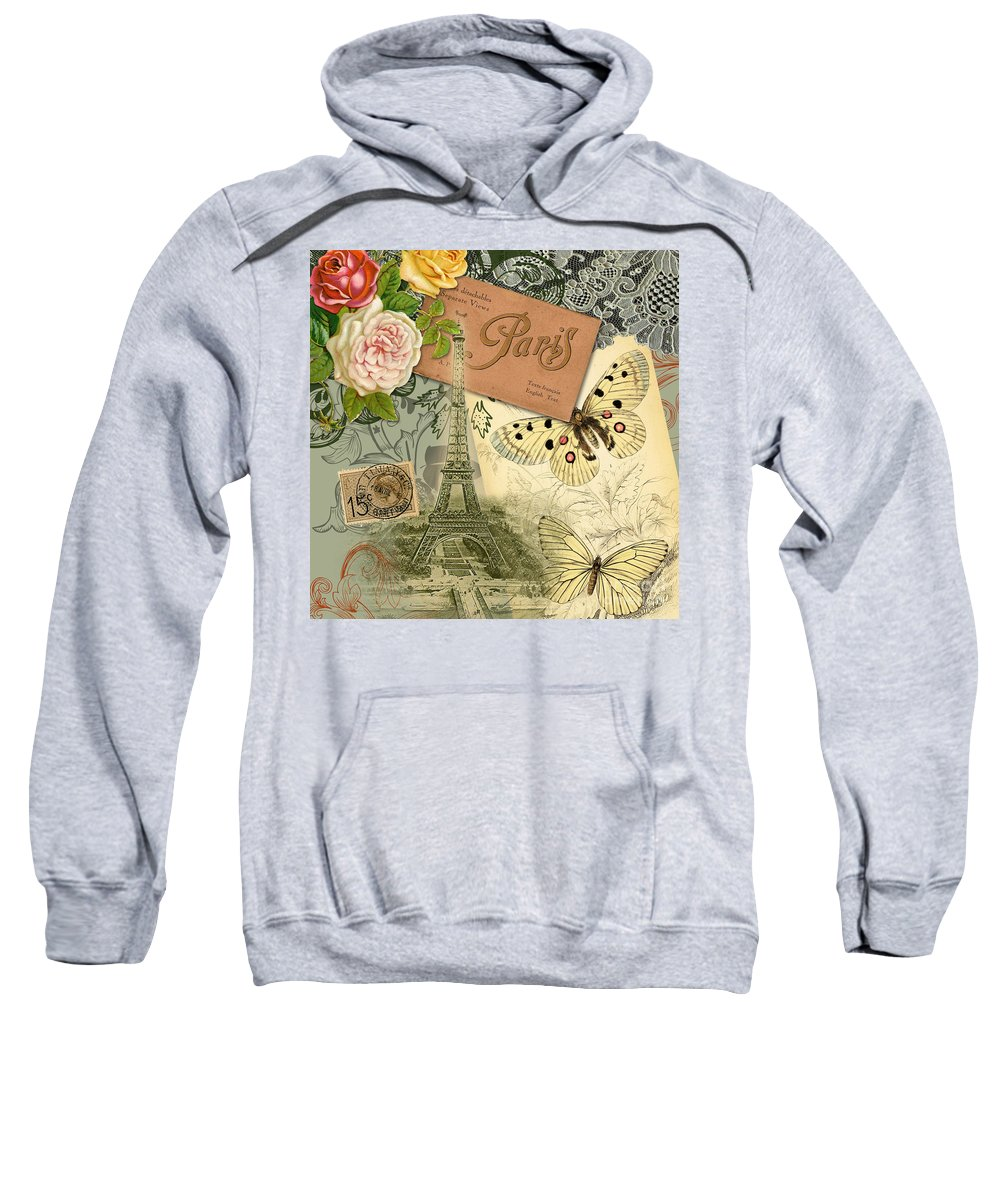 Doodlefly Sweatshirt featuring the digital art Vintage Eiffel Tower Paris France Collage by Mary Hubley
