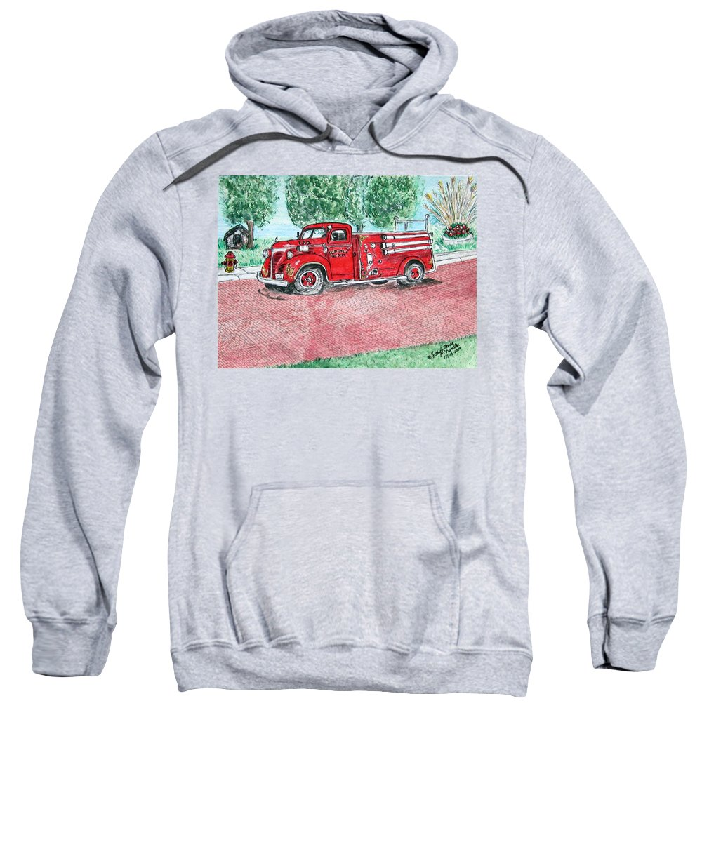 Firetruck Sweatshirt featuring the painting Vintage Firetruck by Kathy Marrs Chandler