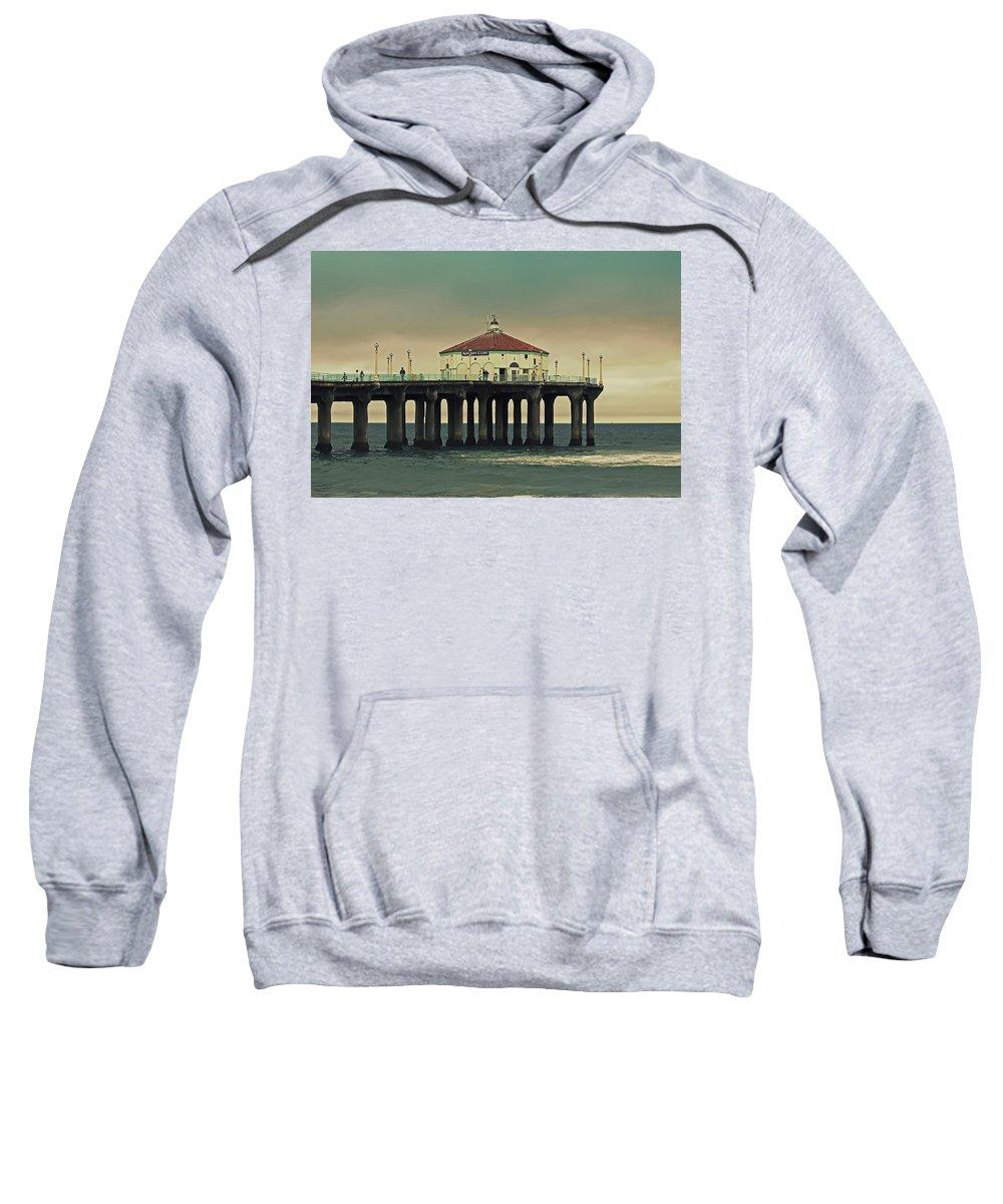 Manhattan Beach Sweatshirt featuring the photograph Vintage Manhattan Beach Pier by Kim Hojnacki