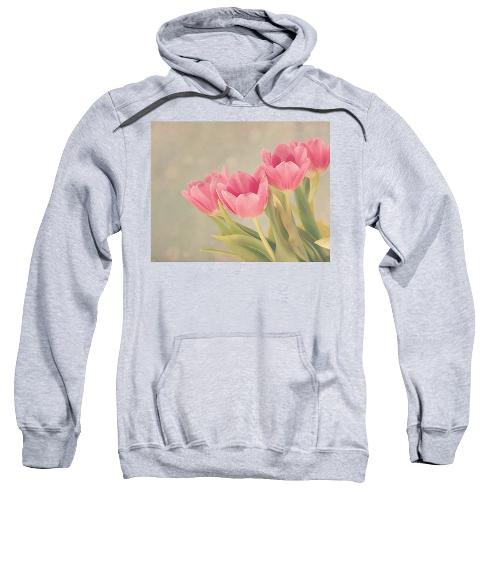Tulip Sweatshirt featuring the photograph Vintage Pink Tulips by Kim Hojnacki