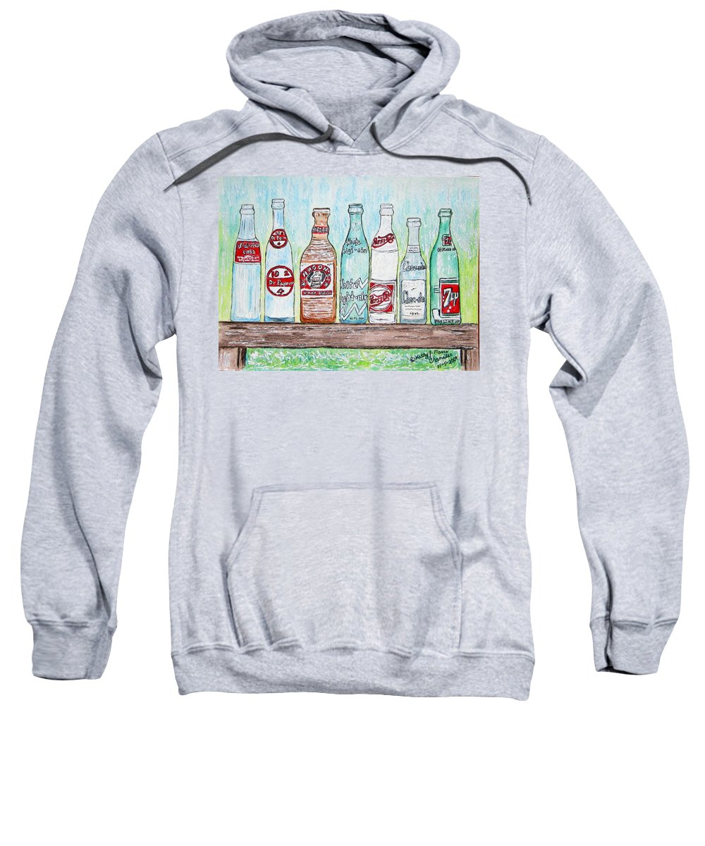 Vintage Sweatshirt featuring the painting Vintage Pop Bottles by Kathy Marrs Chandler