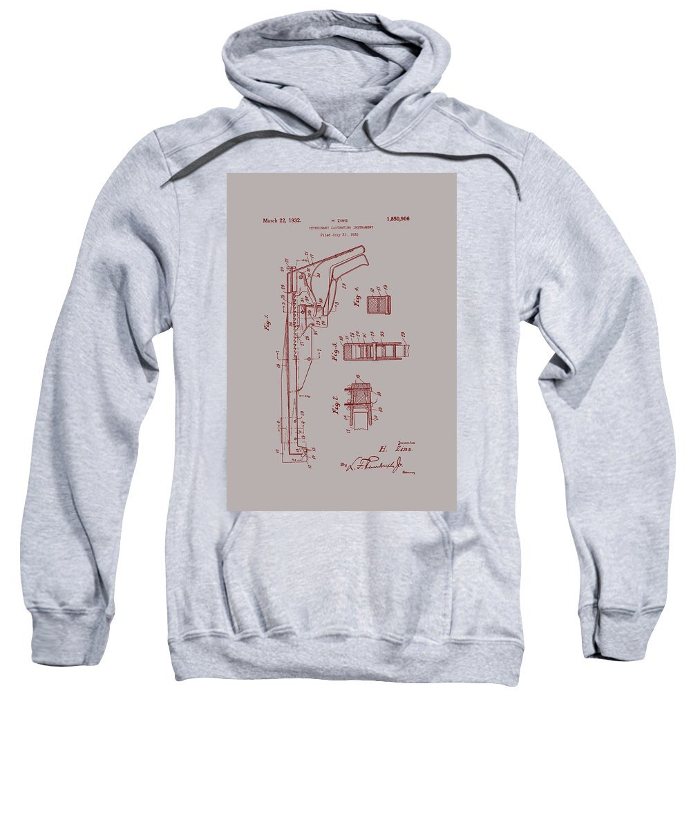 Patent Sweatshirt featuring the drawing Vintage Veterinary Castrating Instument by Mountain Dreams
