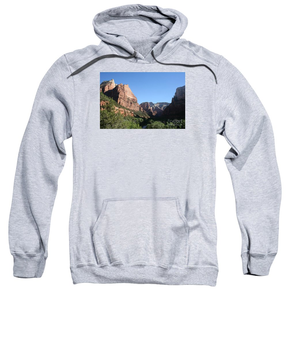 Mountians Sweatshirt featuring the photograph Virgin River View by Christiane Schulze Art And Photography