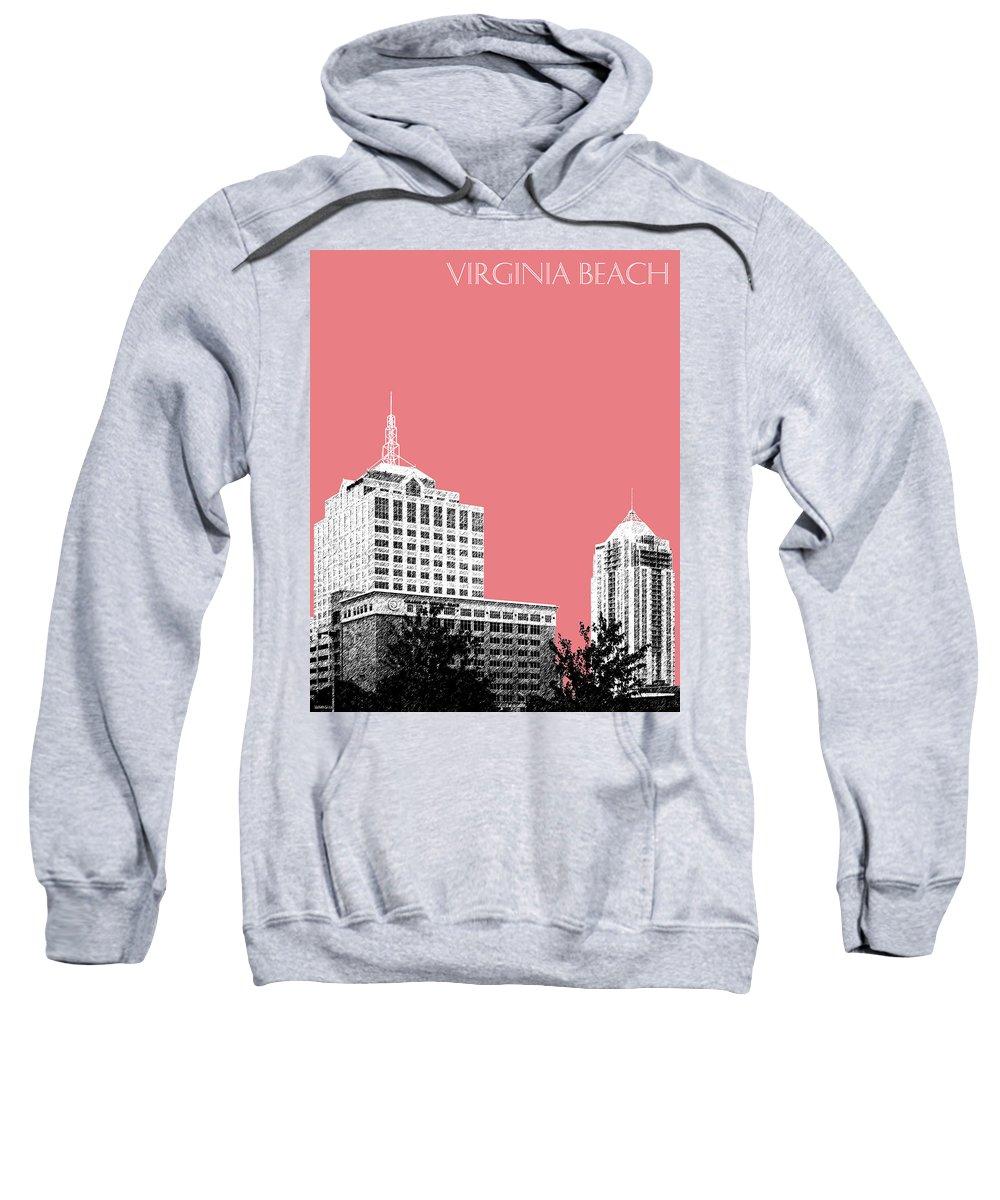 Architecture Sweatshirt featuring the digital art Virginia Beach Skyline - Light Red by DB Artist