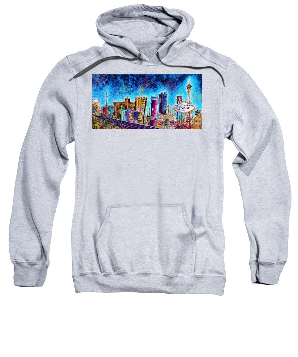 Vegas Sweatshirt featuring the painting Viva Las Vegas A Fun And Funky Pop Art Painting Of The Vegas Skyline And Sign By Megan Duncanson by Megan Duncanson