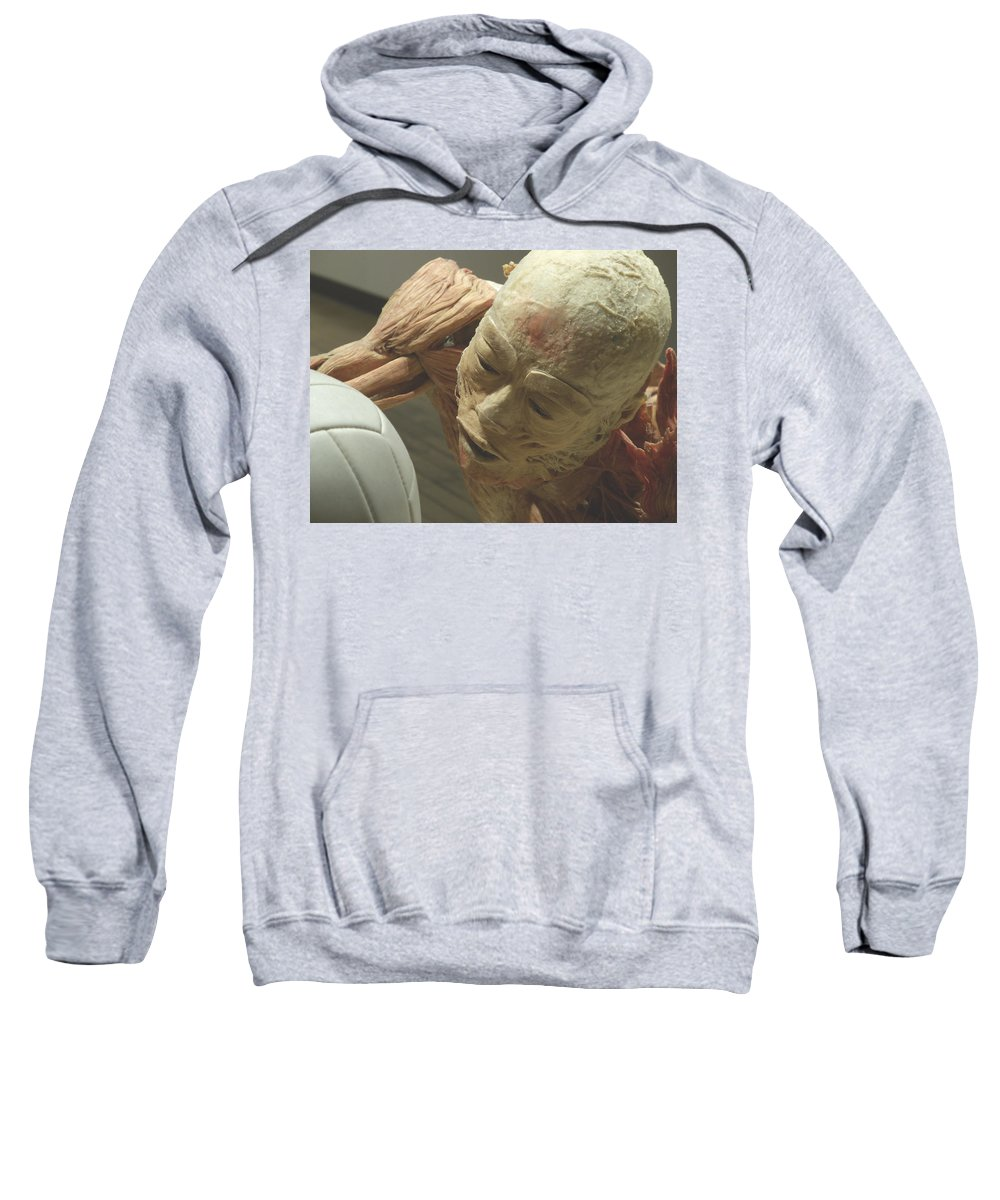 Bodies Exhibit Sweatshirt featuring the photograph Extreme Sports Volleyball Player From Bodies Exhibit by Pamela Smale Williams
