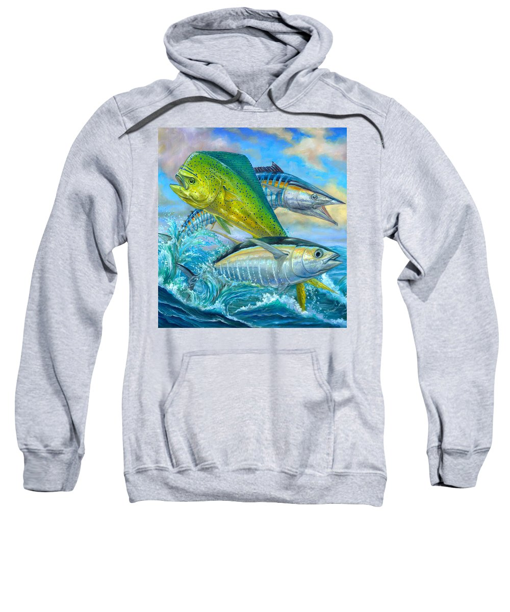 Mahi Mahi Sweatshirt featuring the painting Wahoo Mahi Mahi And Tuna by Terry Fox