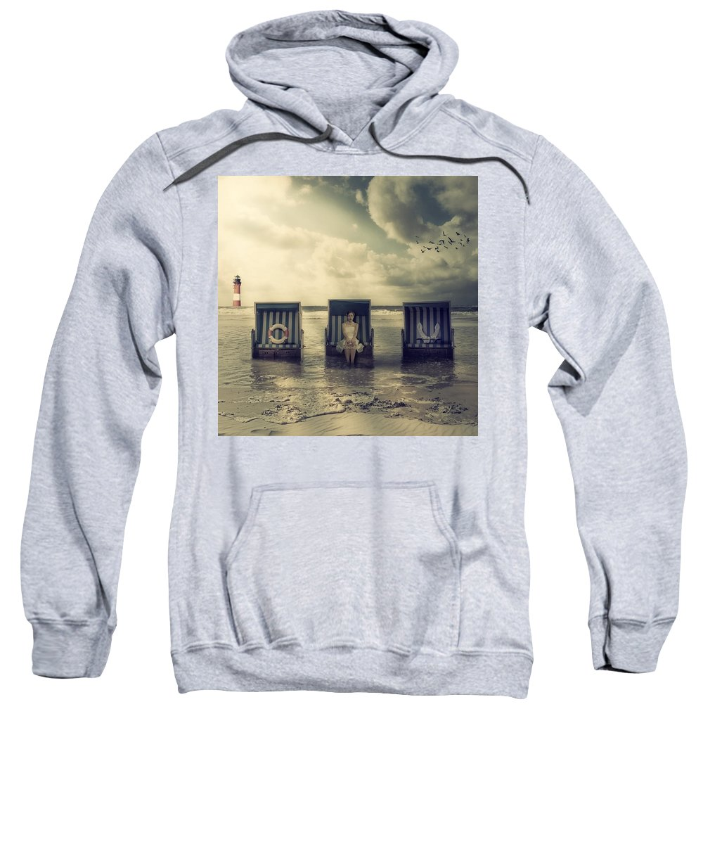 Beach Chair Sweatshirt featuring the photograph Waiting For The Flood by Joana Kruse
