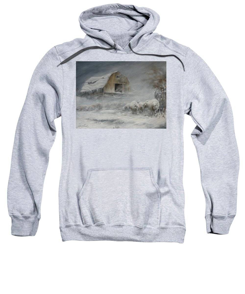 Sheep Sweatshirt featuring the painting Waiting Out The Storm by Mia DeLode