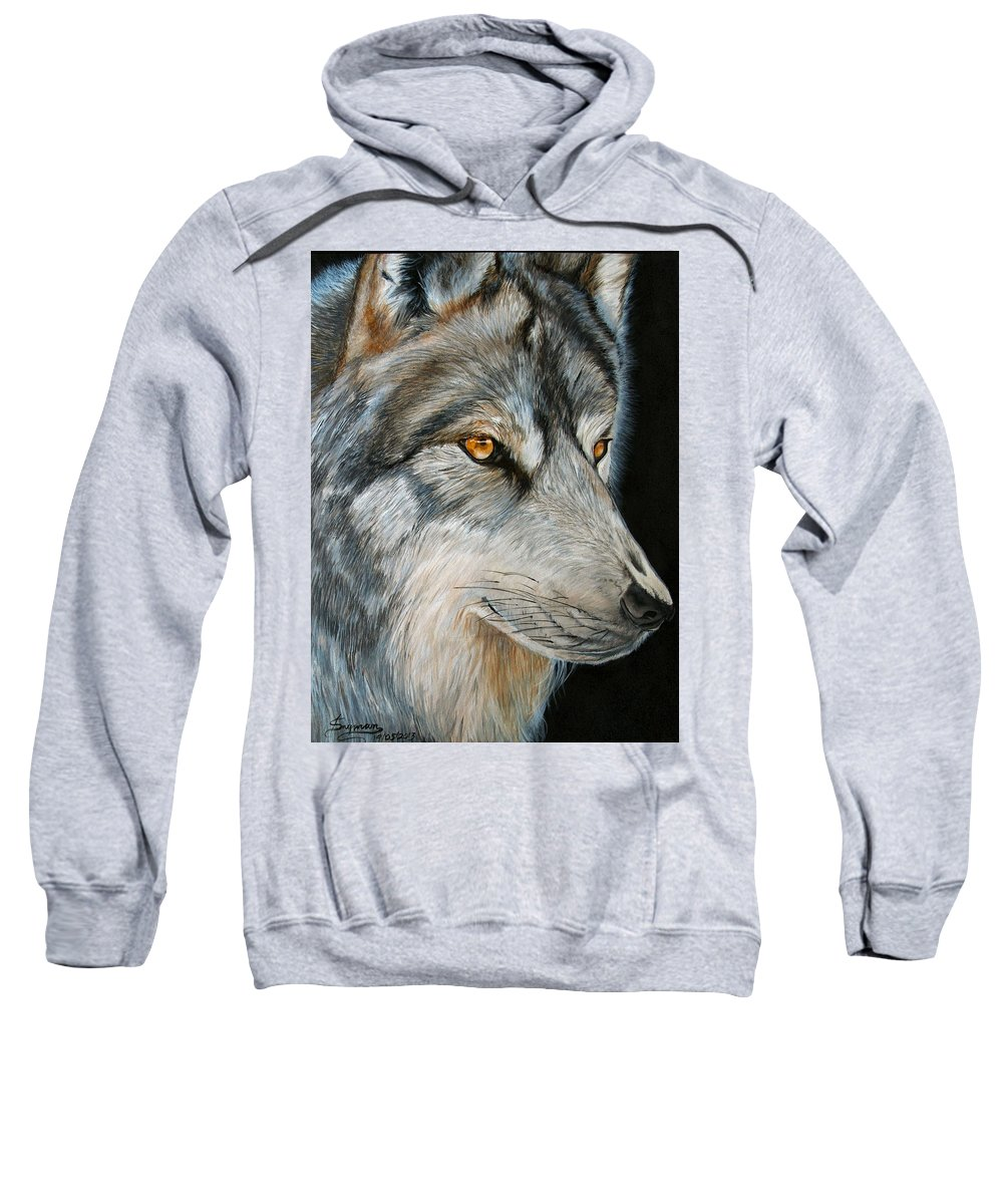 Wolf Sweatshirt featuring the painting Waiting Wolf by Tracey Beer