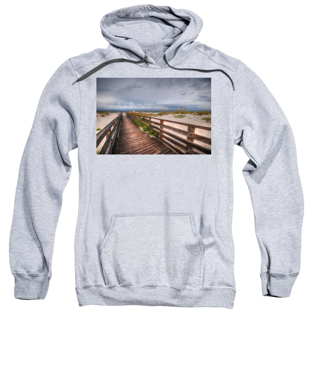 Palm Sweatshirt featuring the digital art Walkway To The Beach At Romar Access by Michael Thomas