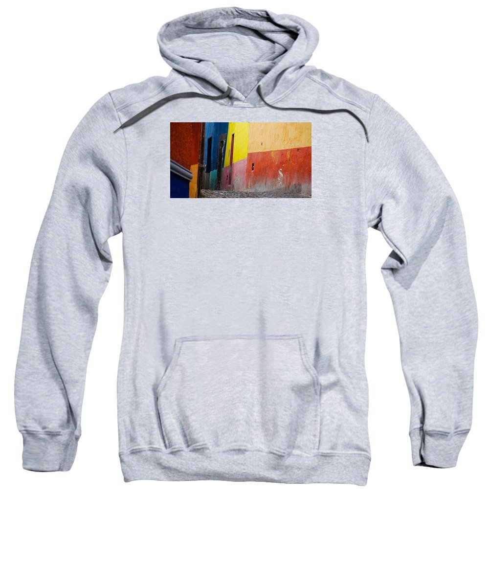 Multi Colored Wall Sweatshirt featuring the photograph Wall 1 by Jacqueline Russell