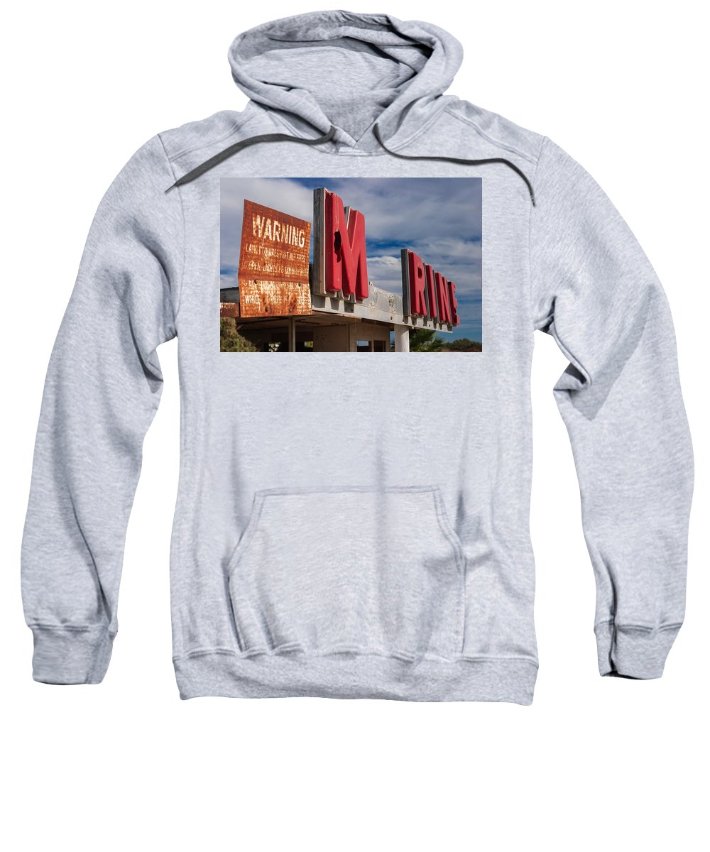 Abandoned Sweatshirt featuring the photograph Warning M Rine by Scott Campbell