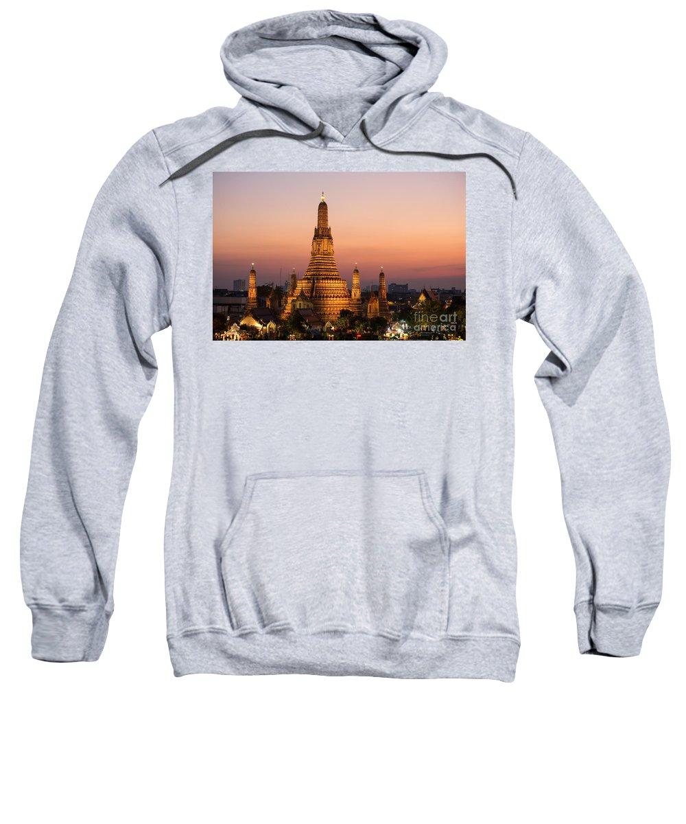 City Sweatshirt featuring the photograph Wat Arun At Sunset - Bangkok by Matteo Colombo