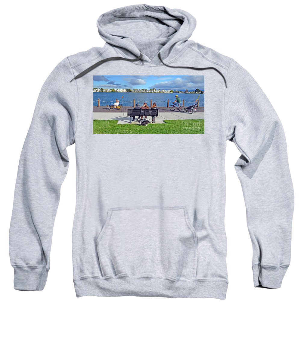 Watching The Bikes Go By Sweatshirt featuring the photograph Watching The Bikes Go By At Congressman Leo Ryan's Memorial Park by Jim Fitzpatrick