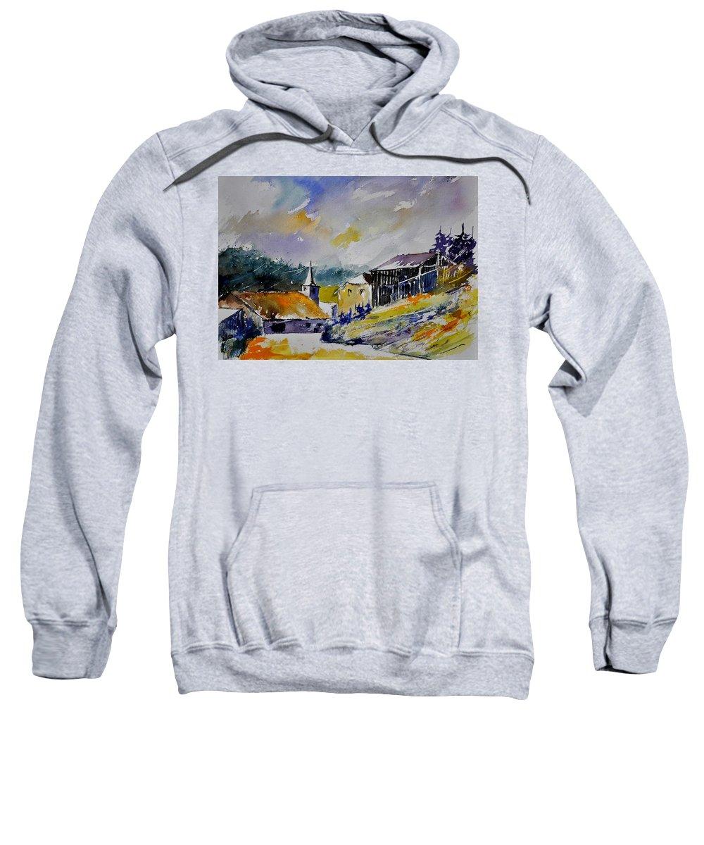 Landscape Sweatshirt featuring the painting Watercolor Baillamont by Pol Ledent