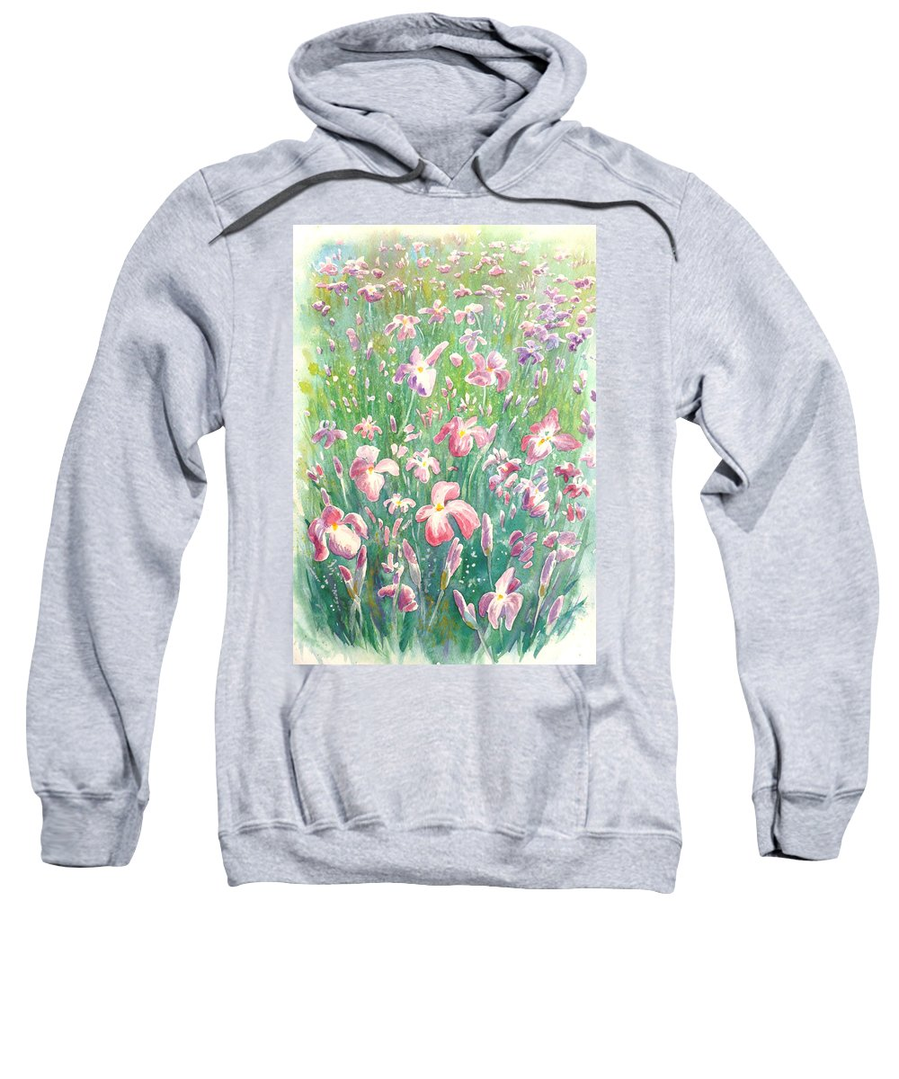 Watercolour Flowers Sweatshirt featuring the painting Watercolour Of Pink Iris's In A Green Field by Gill Bustamante