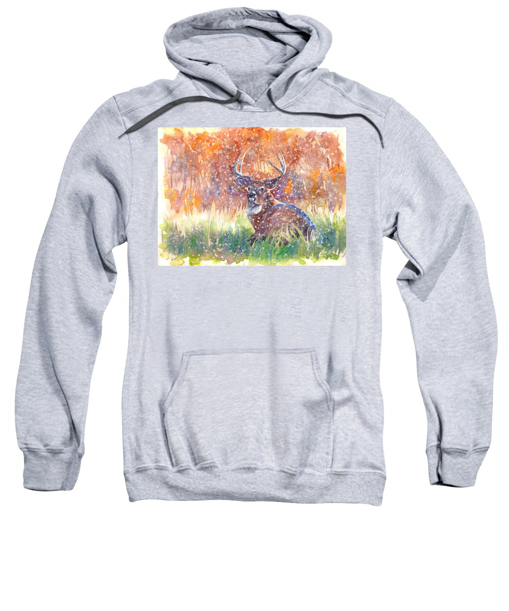Stag Sweatshirt featuring the painting Watercolour Painting Of A Stag In The Snow by Gill Bustamante