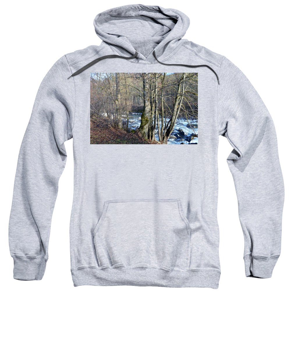 Landscape With Trees Sweatshirt featuring the photograph Waterfall In Winter by Felicia Tica