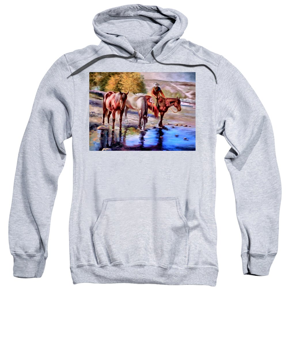 Western Sweatshirt featuring the painting Watering The Horses by Studio Artist