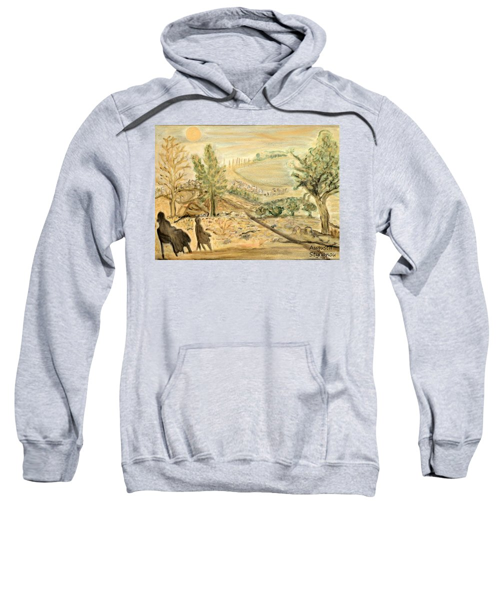 Moon Light Sweatshirt featuring the painting Watching The Moon by Augusta Stylianou