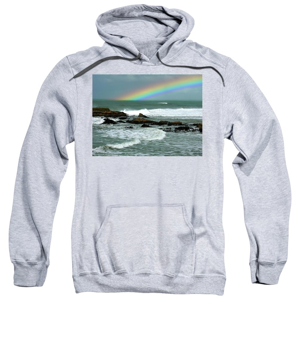 Ocean Sweatshirt featuring the photograph Wave And A Rainbow by Ru Tover