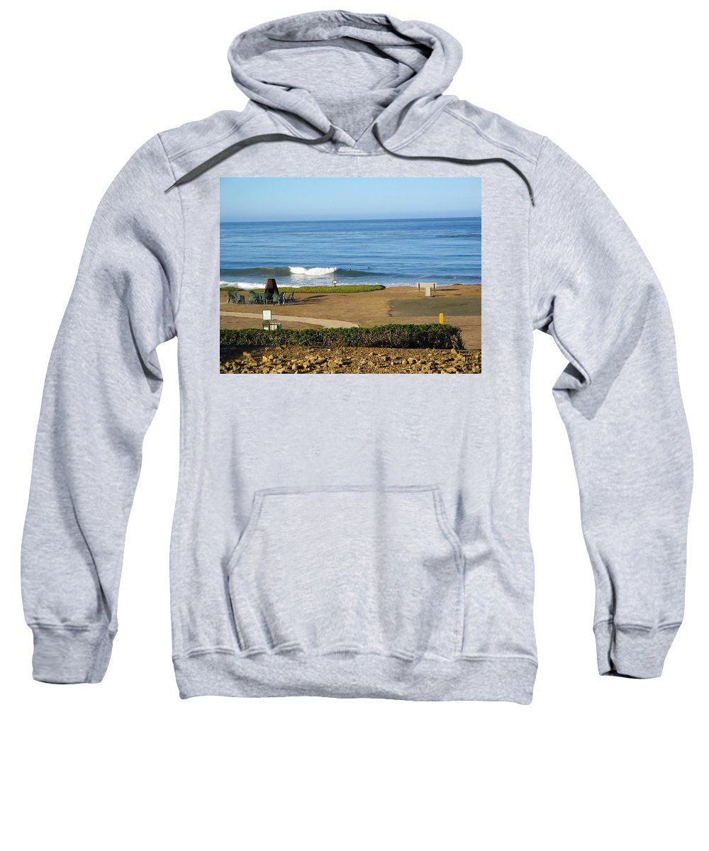 California Sweatshirt featuring the photograph Wave Upon San Simeon Shore by Denise Mazzocco