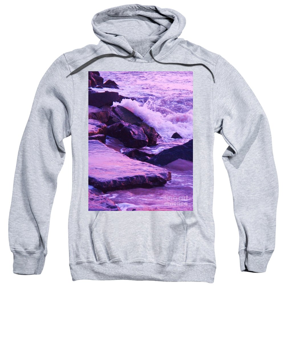 Wave Sweatshirt featuring the photograph Waves Breaking On Jetties by Eric Schiabor