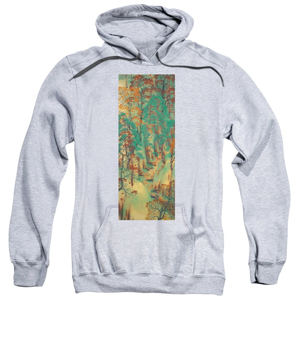 Yokoyama Taikan Sweatshirt featuring the painting Way To Atago by Yokoyama Taikan