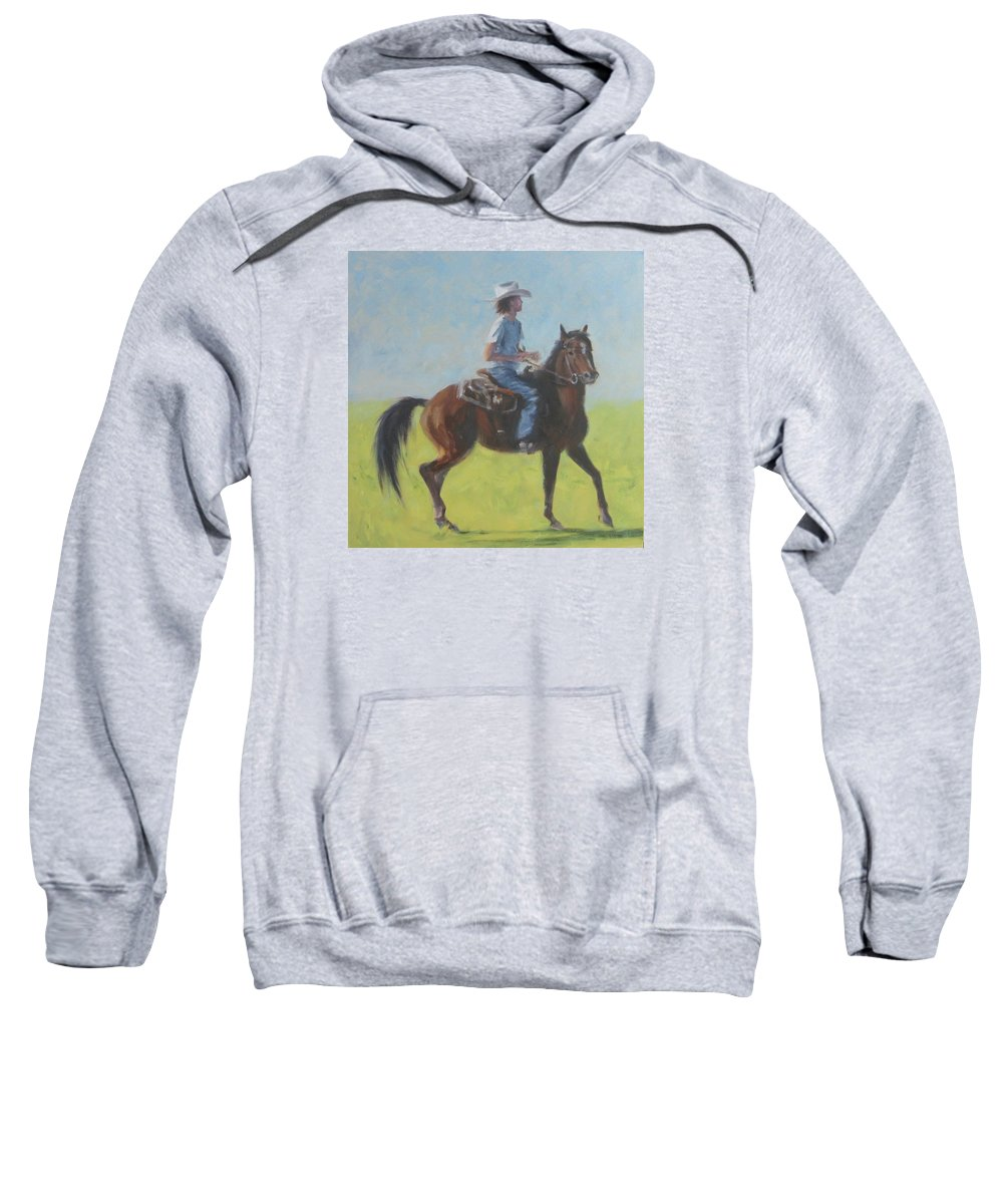 Horse Sweatshirt featuring the painting We Save Horses Three by Connie Schaertl