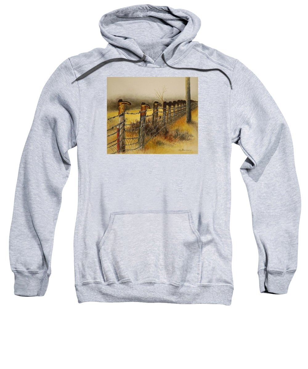 Boots Sweatshirt featuring the painting Welcome by Joy Bradley