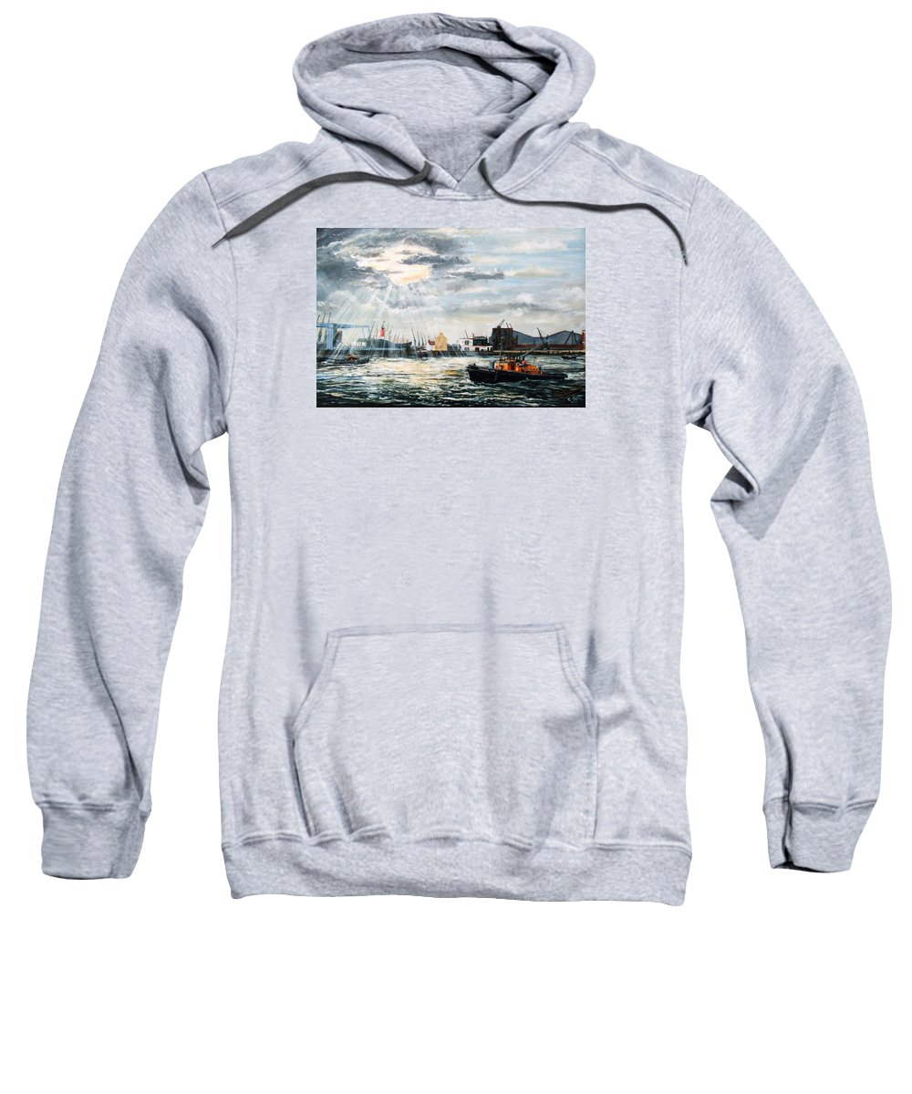 The Gun Sweatshirt featuring the painting West India Dock Entrance And The Gun Public House by Mackenzie Moulton