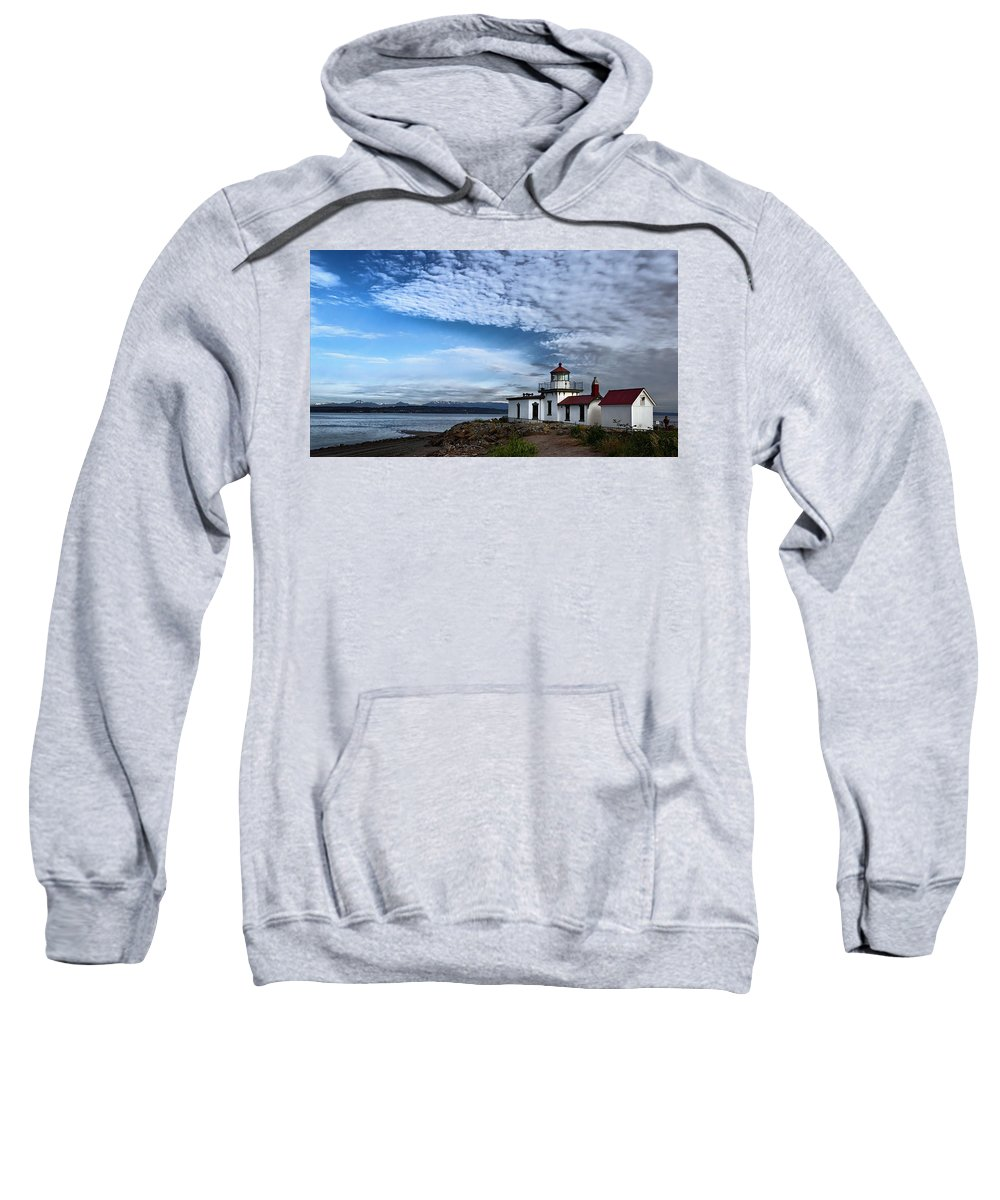 Joan Carroll Sweatshirt featuring the photograph West Point Lighthouse II by Joan Carroll
