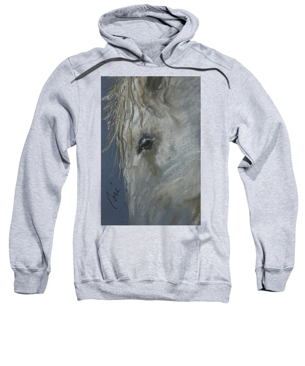 Inspired By Horses I Saw In Lexington Sweatshirt featuring the drawing Western Dreamer by Cori Solomon