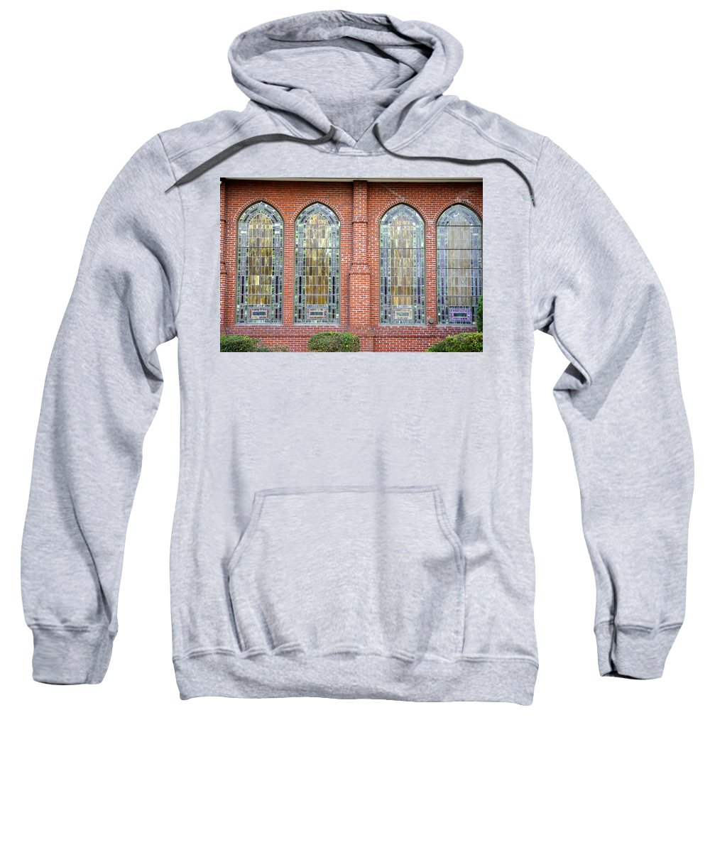 Stained Glass Sweatshirt featuring the photograph Westminster Windows by Laurie Perry
