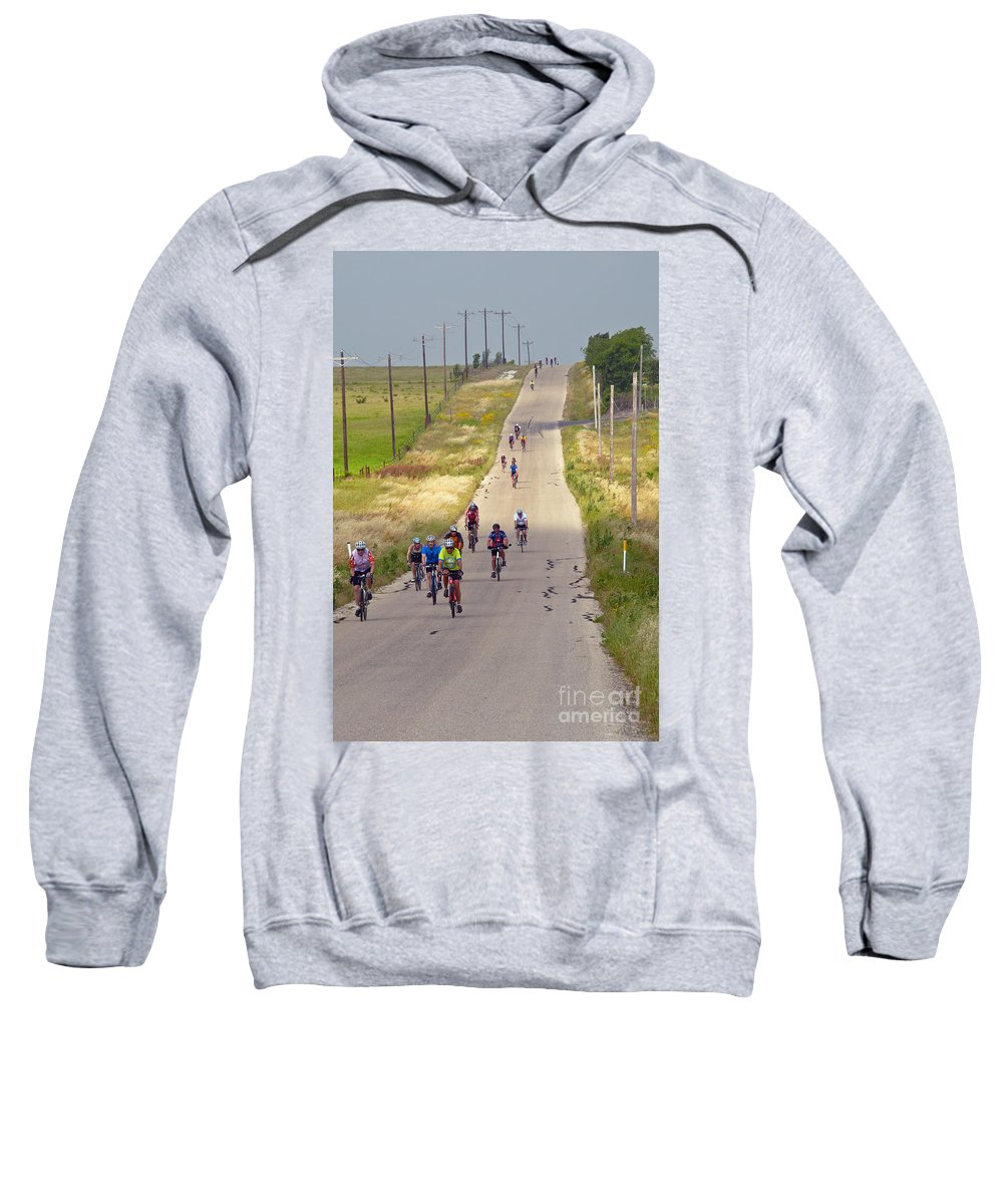 Bicycle Bicycles Williamson County Texas Landscape Landscape Man Men People Person Persons Bike Bikes Creature Creatures Woman Women Landscape Landscapes Sweatshirt featuring the photograph What Comes Down Must Go Up by Bob Phillips