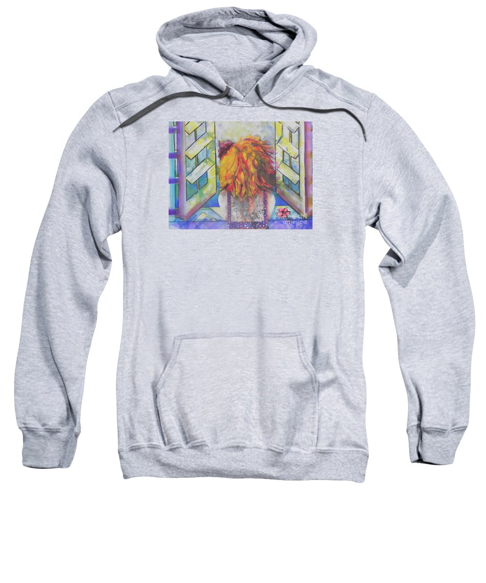 Watercolor Paintings Sweatshirt featuring the painting What Lies Ahead Series   I Miss You by Chrisann Ellis