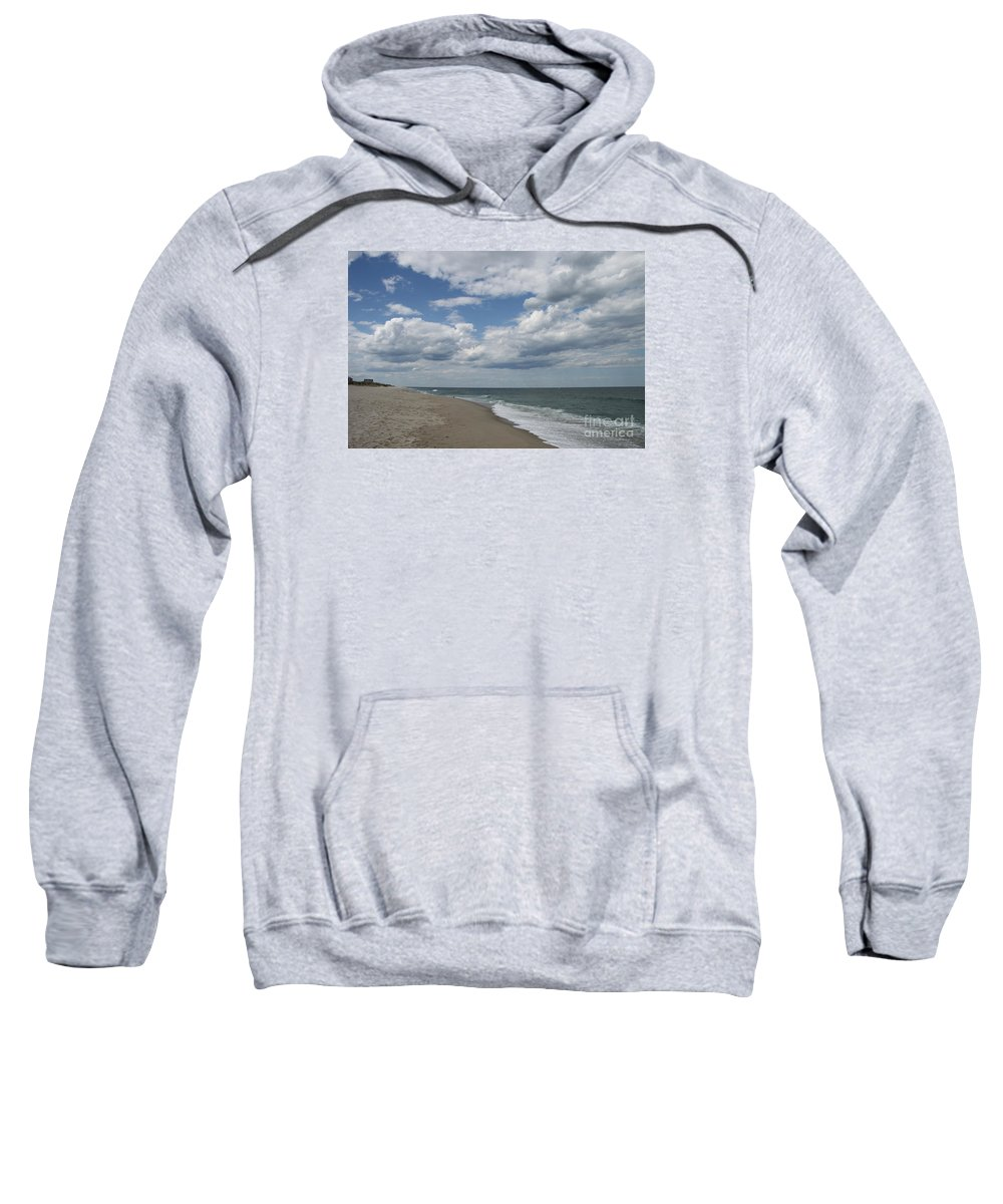Clouds Sweatshirt featuring the photograph White Clouds Over The Ocean by Christiane Schulze Art And Photography