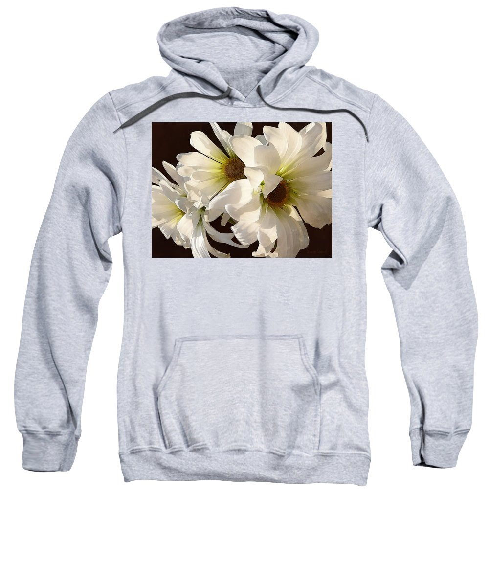 Daisy Sweatshirt featuring the photograph White Daisies In Sunshine by Susan Savad