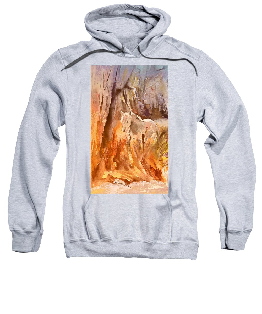 Travel Sweatshirt featuring the painting White Horse In The Camargue 01 by Miki De Goodaboom