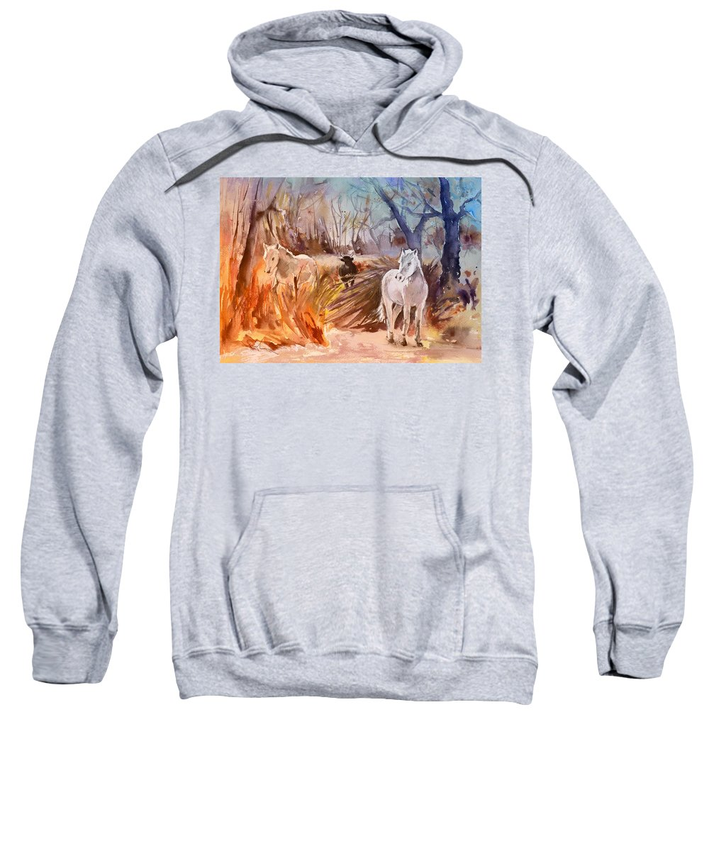 Travel Sweatshirt featuring the painting White Horses And Bull In The Camargue by Miki De Goodaboom